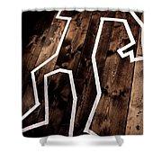 Dead Man Outline On Floor Shower Curtain