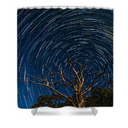 Dead Oak With Star Trails Shower Curtain