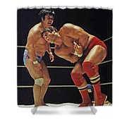 Dean Ho Vs Don Muraco In Old School Wrestling From The Cow Palace Shower Curtain