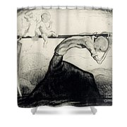 Death With Two Children Carried On His Scythe Shower Curtain by Michel Fingesten