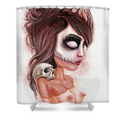 Deathlike Skull Impression Shower Curtain