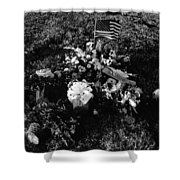 Debbie C's Grave American Flag Evergreen Cemetery Tucson Arizona 1991 Shower Curtain
