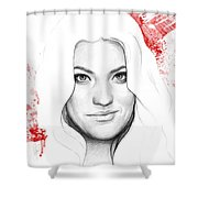 Debra Morgan Portrait - Dexter Shower Curtain by Olga Shvartsur