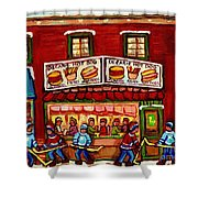 Decarie Hot Dog Restaurant Cosmix Comic Store Montreal Paintings Hockey Art Winter Scenes C Spandau Shower Curtain