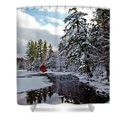 December Afternoon At The Red Boathouse Shower Curtain