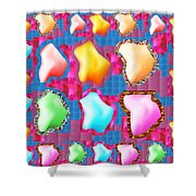 Deco Pattern Patchup Collage Crystals Jewels Rose Flower Petals Shower Curtain