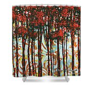 Decorative Abstract Floral Bird Landscape Painting Forest Of Dreams II By Megan Duncanson Shower Curtain by Megan Duncanson
