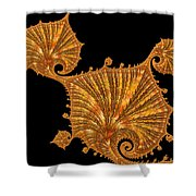 Decorative Golden Floral Fractal Leaves Shower Curtain