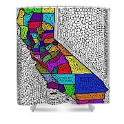 Decorative Map Of California Shower Curtain