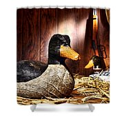 Decoy In Old Hunting Barn Shower Curtain