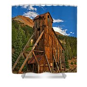 Deep Blue Over Historic Silver And Gold Shower Curtain