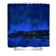 Deep Blue Triptych 2 Of 3 Shower Curtain