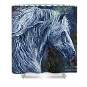 Deep Blue Wild Horse Shower Curtain