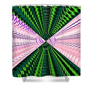 Deep Green And Pink Shower Curtain