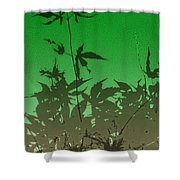 Deep Green Haiku Shower Curtain
