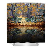 Deep Pond Reflections Shower Curtain
