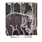 Deep Purple Elephant Painting In The Forest. Shower Curtain