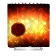 Deep Space Burst Digital Painting Shower Curtain