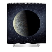 Deep Space Planet Kepler-20f Shower Curtain by Movie Poster Prints