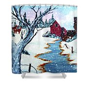 Deer At The Grist Mill Shower Curtain