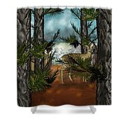 Deer In Pine Forest Shower Curtain