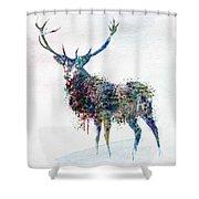 Deer In Watercolor Shower Curtain