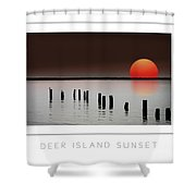 Deer Island Sunset Poster Shower Curtain