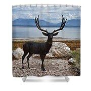 Deer Statute On Antelope Island  Shower Curtain