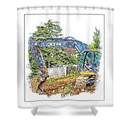Deere For Hire2 - Excavator - Digger Shower Curtain