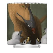 Deinonychus Dinosaur Feeding Its Young Shower Curtain