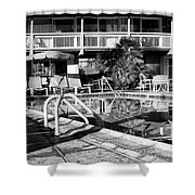 Del Marcos Pool Bw Palm Springs Shower Curtain