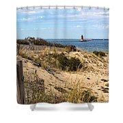 Delaware Breakwater East End Light Shower Curtain