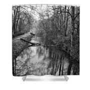 Delaware Canal In Black And White Shower Curtain