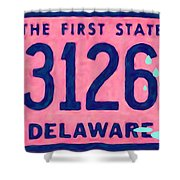 Delaware License Plate Shower Curtain