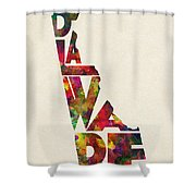 Delaware Typographic Watercolor Map Shower Curtain