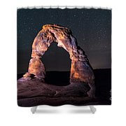 Delicate Arch At Night Against Beautiful Night Sky Shower Curtain