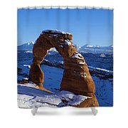 Delicate Arch In Snow Arches National Park Utah Shower Curtain