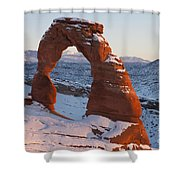Delicate Arch With Snow Arches National Park Utah Shower Curtain