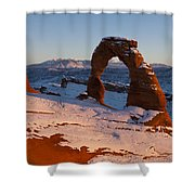 Delicate Arch With Snow At Sunset Arches National Park Utah Shower Curtain