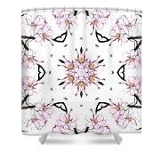 Delicate Cherry Blossom Fractal Kaleidoscope Shower Curtain