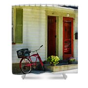 Delivery Bicycle By Two Red Doors Shower Curtain