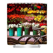 Delivery Bikes At Flower Market Shower Curtain