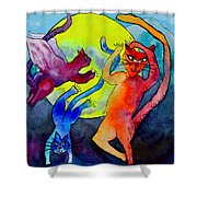 Demon Cats Dance By The Light Of The Moon Shower Curtain by Beverley Harper Tinsley