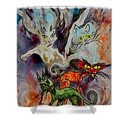 Demon Cats Haunted Shower Curtain