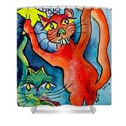 Demon Cats Reach Shower Curtain
