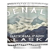 Denali Postage Stamp  Shower Curtain