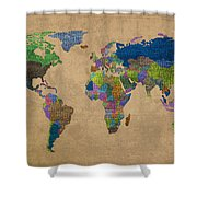 Denim Map Of The World Jeans Texture On Worn Canvas Paper Shower Curtain