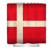 Denmark Flag Vintage Distressed Finish Shower Curtain by Design Turnpike