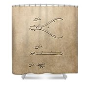 Dental Pliers Patent Design Shower Curtain