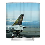 Denver Airport With Rockies In Background Shower Curtain